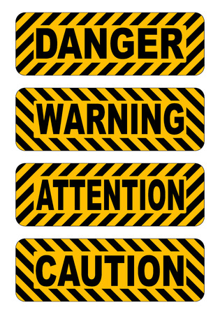 yellow attention: caution, warning, attention, danger text stickers label vector illustration striped yellow and black isolated on white Illustration