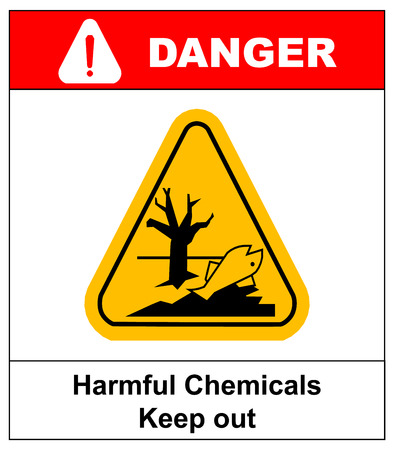 harmful: GHS hazard pictogram in yellow triangle - harmful chemicals keep out hazardous to aquatic environment , hazard warning danger banner , isolated vector illustration
