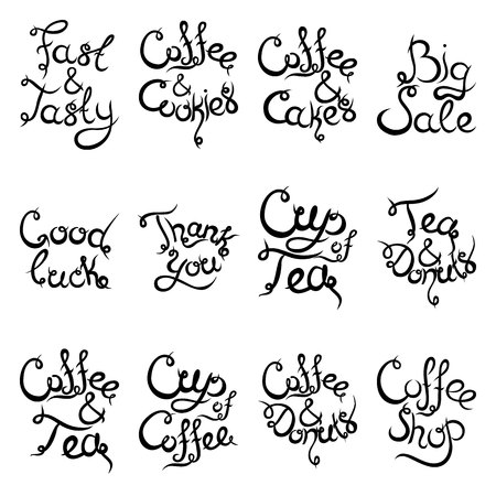 lucky break: Set 2 of curly hand-drawn lettering Phrases for Coffee Shop. Espresso Cappuccino Cakes Donuts Macarons Cookies Biscuits Latte Macchiatto Cup of Coffee Enjoy Desserts. Vector illustration.
