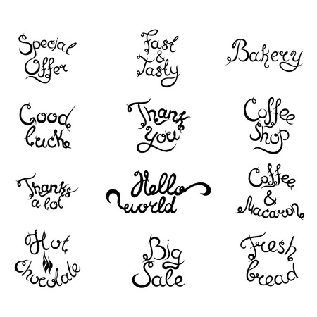 lucky break: Set 4 of curly hand-drawn lettering Phrases for Coffee Shop. Espresso Cappuccino Cakes Donuts Macarons Cookies Biscuits Latte Macchiatto Cup of Coffee Enjoy Desserts. Vector illustration.