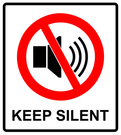 silent: Prohibited Sign For Keep Silent. Vector symbol for public places. Keep quite, no sound, no music, no phones.