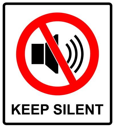Señal prohibido para guardar silencio. Símbolo del vector para los lugares públicos. Mantenga bastante, no hay sonido, no hay música, no hay teléfonos.