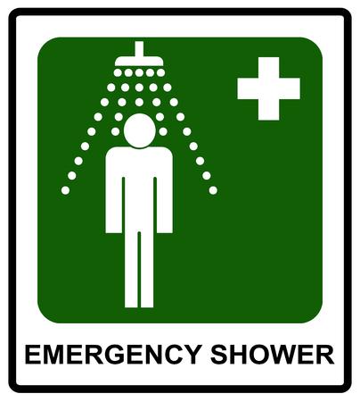 안전 조건 기호, 긴급 샤워 기호 공공 장소에 대 한 벡터 스티커