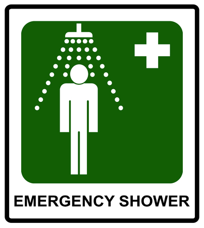 condition: Safe condition sign, Emergency shower symbol Vector sticker for public places