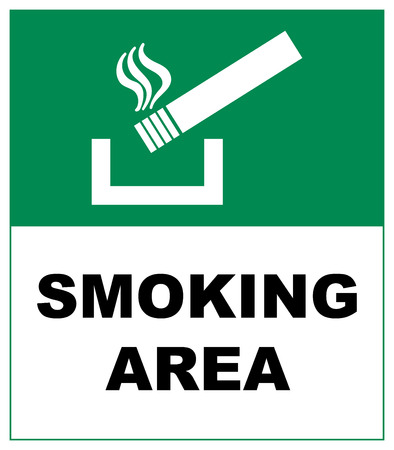 designated: Designated smoking area sign isolated on grey background Sticker label with cigarette for public smoking places vector illustratiobn