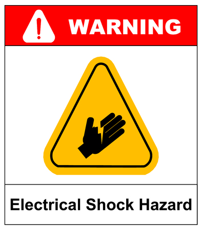 high voltage sign: warning electrical shock hazard banner high voltage sign or electrical safety symbol danger electric fence keep off keep away, stop high voltage no entry vector illustration