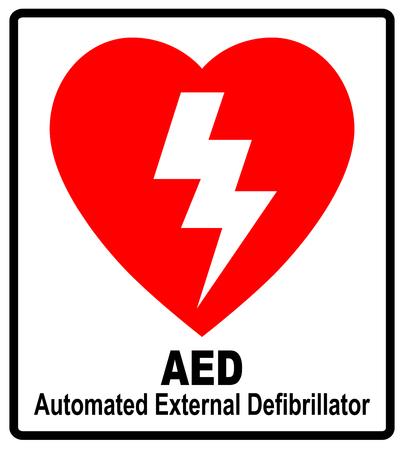 심장 모양과 번개가있는 빨간 AED 스티커의 벡터 Automated External Defibrillator