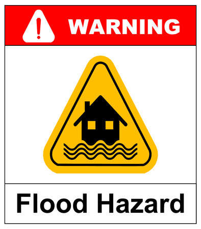 flood damage: Flood Disaster Yellow Sign - House and waves on yellow sign isolated on white background. Vector banner with text. Yellow triangle warning symbol.