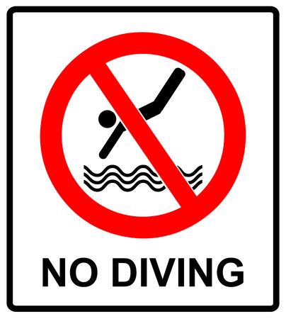 다이빙 흔적이 없습니다. 벡터 금지 기호 해변, 수영장처럼 공공 장소에 대 한 빨간색 원 안에있는 흰색에 격리.