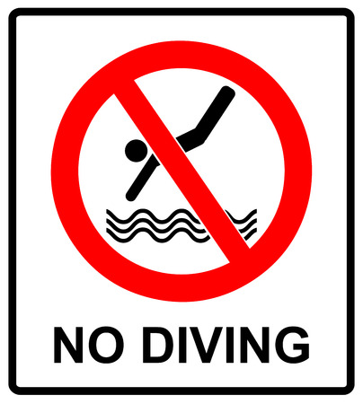 No diving sign. Vector prohibition symbol isolated on white in red circle for public swimming places like beaches, pool. Stock Illustratie