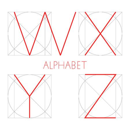 Vector geometric font. Construction of letters alphabet. Red letter in right geometrical form - square and circle. W, X, Y, Z