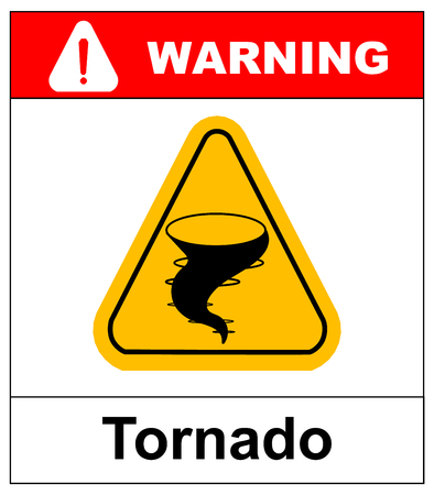 Warning tornado hazard sign in yellow triangle.