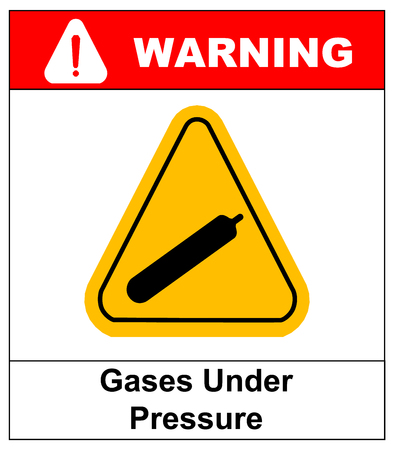 under pressure: Gases under pressure sign Illustration