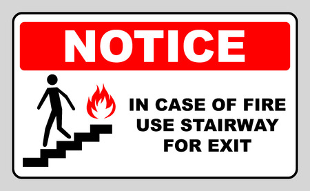 in case of fire use stairway for exit sign. man going on emergency exit. warning banner. vector symbol. notice sticker for flight of stairs.