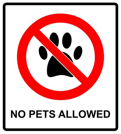 dog allowed: no pets allowed icon. pets forbidden illustration. no dog paw prohibition symbol. Illustration