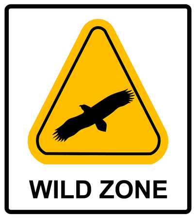 animal idiot: warning sign. danger signal with eagle. vector symbol of bird silhouette in yellow triangle.