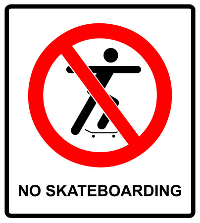 illustration of a no skateboarding allowed sign with man silhouette. warning banner for street, outdoors and parks with symbol in red prohibition circle. Illustration