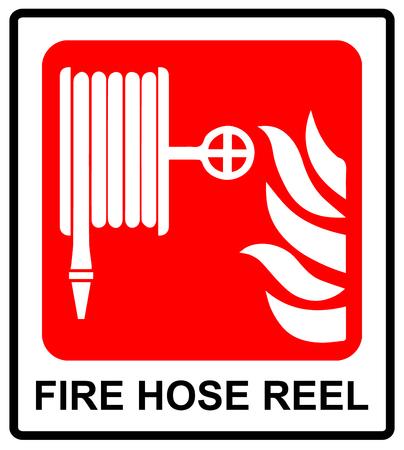 벡터 화재 호스 릴 기호 공공 장소에 대 한 정보 스티커 긴급 기호 텍스트 일러스트