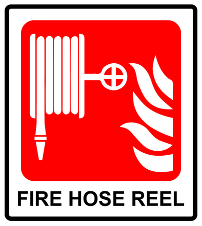informational: Vector Fire hose reel sign Informational sticker for public places Emergency symbol with text