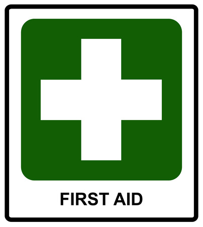 informational: First Aid sign, vector illustration Informational label for public places.