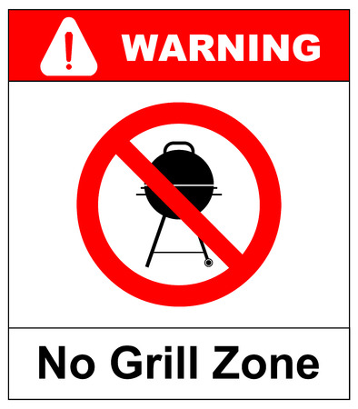 general warning: No grill zone symbol, No bbq allowed - ban sign. Vector warning banner for publc places, beaches, outdoors, parks, forestes. Exclamation point, general red prohibition circle isoolated on white.