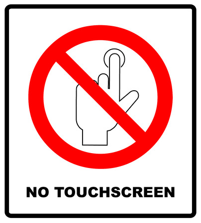Do Not Touch, sticker. Vector warning banner no touchscreen, general red prohibition circle symbol, isolated on white. Exclamation point. Ilustração