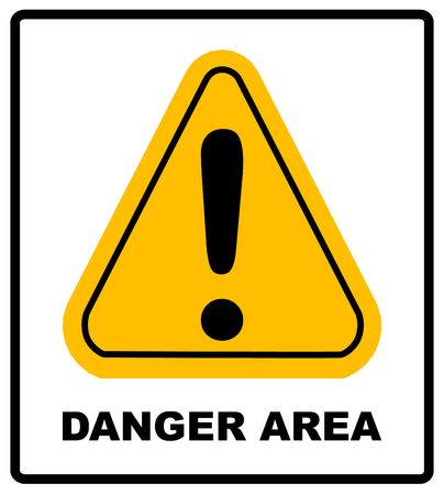 exclamation point: Exclamation danger area sign vector wanring banner in yellow triangle symbol isolated on white. Exclamation point icon.