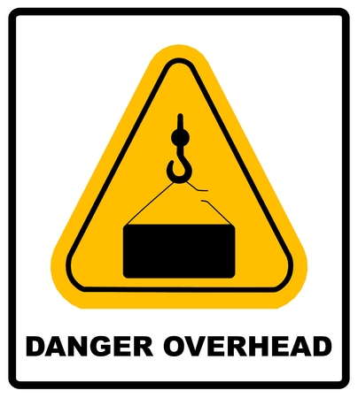 alerts: Danger overhead load sign. Vector warning banner, silhouette symbol in yellow triangle isolated on white.