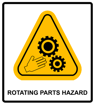 rotating parts: Rotating Parts Hazard for hands sign, vector illustration. Warning banner with symbol in yellow triangle for conveyor and factory isolated on white.