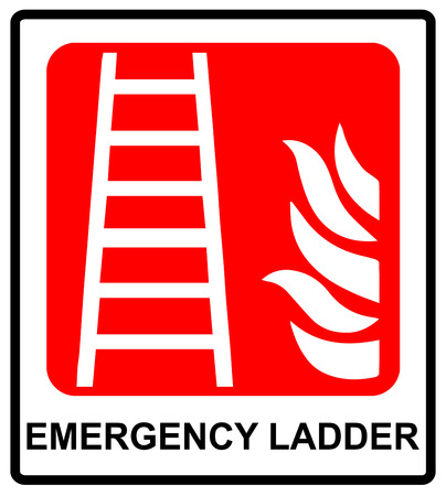 evacuation: Fire ladder sign. Vector emergency symbol for evacuation in public places. Red emergency sticker label with text isolated on white.