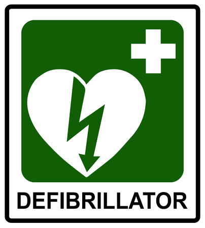 Automated external heart defibrillator safe condition vector sign Emergency sticke label for public places isolated on white with text. Çizim