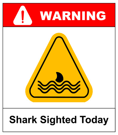 Illustration of a danger signal icon with a shark fin. Shark Sighted Today. Vector warning banner for beaches and pear on sea and ocean in yellow triangle isolated on white.