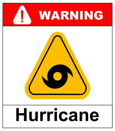 danger ahead: Hurricane Warning Sign. Vector warning banner with symbol in yellow triangle isolated on white.