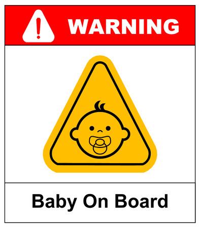 ボードに白い背景の上のサインの赤ちゃん。ベクトルの図。警告バナー