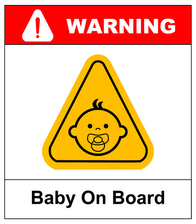 Baby on board sign on white background. Vector illustration. Warning banner Ilustrace