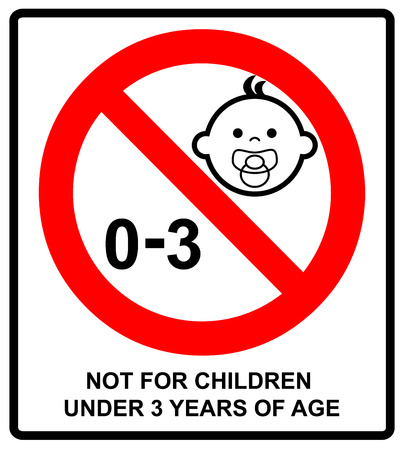 Prohibition sign for children.Not for children under 3 years of age sign. Vector illustration. Red prohibition circle isolated on white. Warning sticker.