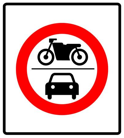 Ningún signo de vehículos de motor, vector de advertencia banner para carretera en círculo de prohibición general aislado en blanco. sin símbolo de automóvil o motocicleta. Foto de archivo - 61679020