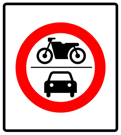 no motor vehicles sign, vector warning banner for road in general prohibition circle isolated on white. no car or motocycle symbol. Stock Photo - 61679020
