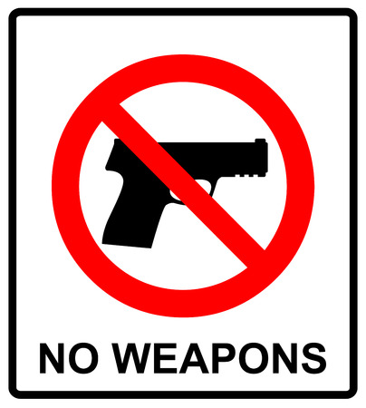 prohibiting: Prohibiting sign for weapons. No gun sign. Vector illustration, warning banner for public places, isloated on white, general red prohibition circle.