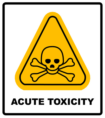 toxicity: hazard pictogram, acute toxicity hazard symbol. Vector banner for industrial. Yellow triangle isolated on white with text.