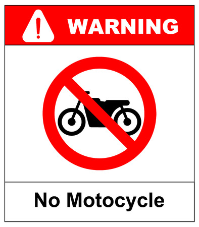 general warning: No motorcycle sign isolated on white background.vector illustration. warning banner for park area and outdoors. general red prohibition circle.