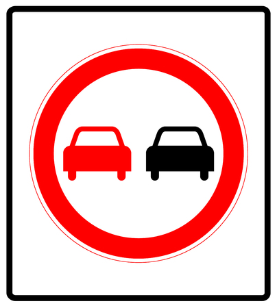 overtaking: No overtaking road traffic sign icon isolated on white background. Prohibition symbol in red circle for road.