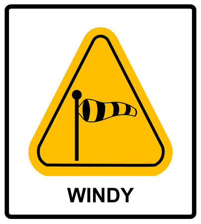 gloom: Vector illustration of triangle traffic sign for strong wind. Warning sticker for outdoors with wind socks in yellow triangle isolated on white.