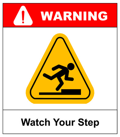 Watch your step sign. Vector yellow triangle symbol isolated on white. Warning sticker label for public places. Ilustração