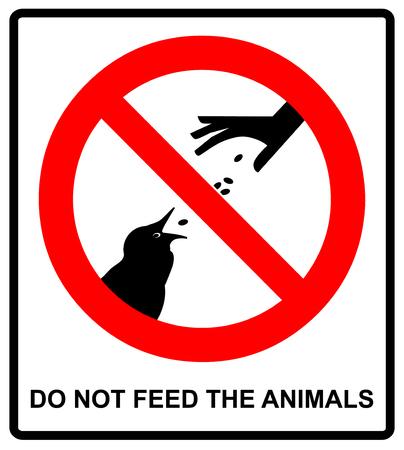 동물 먹이를하지 마십시오 야생 동물 조류 기호, 벡터 일러스트 레이 션 공공 장소 야외에 대 한 경고 금지 스티커 일러스트