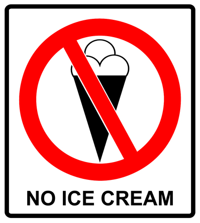 Image of ice cream cone, behind NO sign, on white background Warning sticker for public places Do not eat Vector symbol