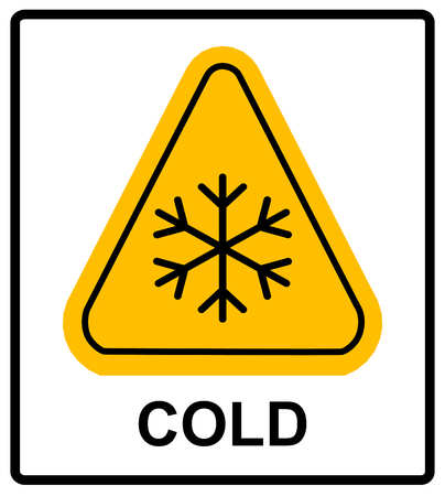 general warning: Cold warning sign , snow warning - triangular sign , vector illustration Low temperature Extreme Cold Temperature Conditions Warning sheet for public places