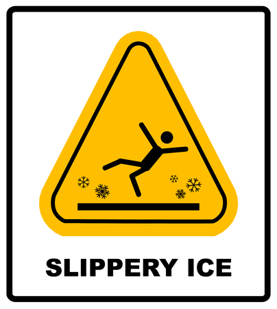 Caution watch for ice vector sign. Slippery Ice Warning sticker label for winter outdoors, Vector symbol in yellow triangle isolated on white. Illustration