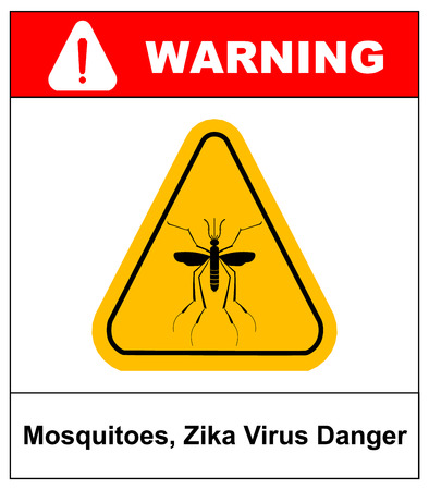 Zika virus Danger, Mosquitoes symbol, vector sticker label in yellow triangle isolated on white. Warning banner
