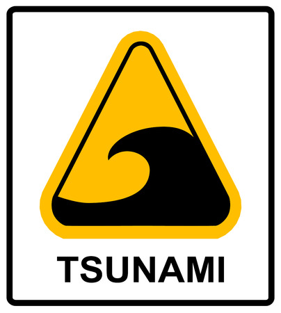 Tsunami hazard zone sign. In case of earthouake go to high ground or inland. Vector warning sticker label with wave symbol in yellow triangle isolated on white. Illustration